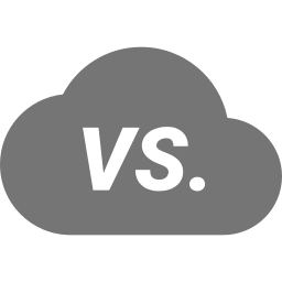 A cloud with VS in the middle of it to indicate a comparison of a two different objects.